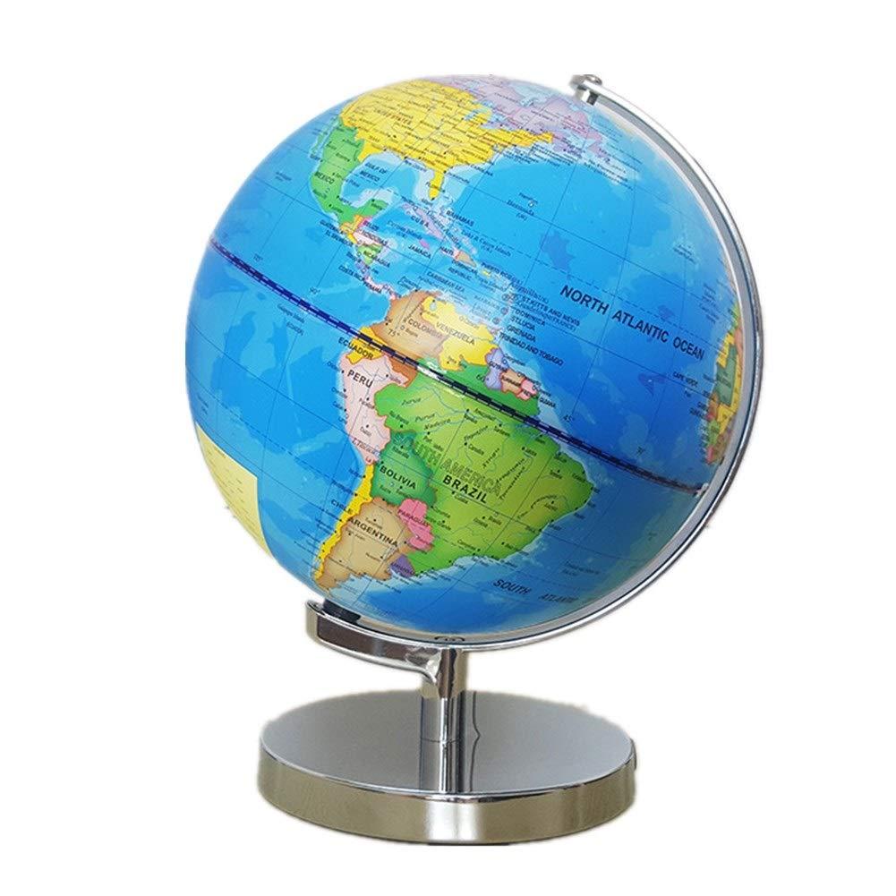 Zgsjbmh Büros Home Schlafzimmer Dekoration Rotierende Kugel-Weltkarte-pädagogische große drehende Tischplatte-Kugel 25 cm belichtete LED Erwachsenes Kinddesktopspielzeug