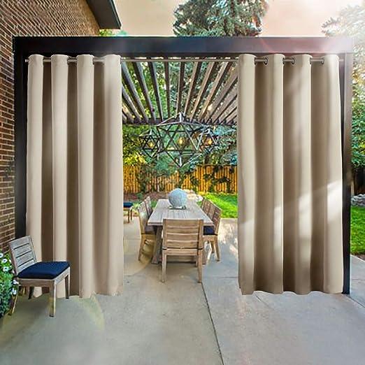 RHF Cortinas opacas al aire libre, cortinas de patio, cortinas al aire libre, cortinas de patio al aire libre, cortinas impermeables con ojales, cortinas de porche de privacidad al aire libre (Tan-52by84):