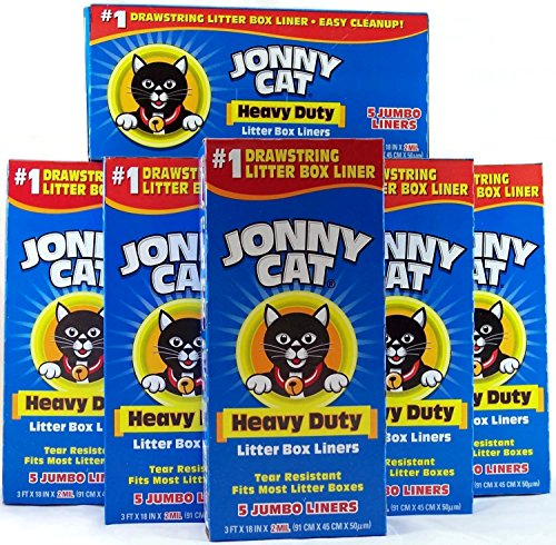 JONNY CAT Cat Litter Box Liners 5 / Box (Pack of 6) (Cat Box Bag)
