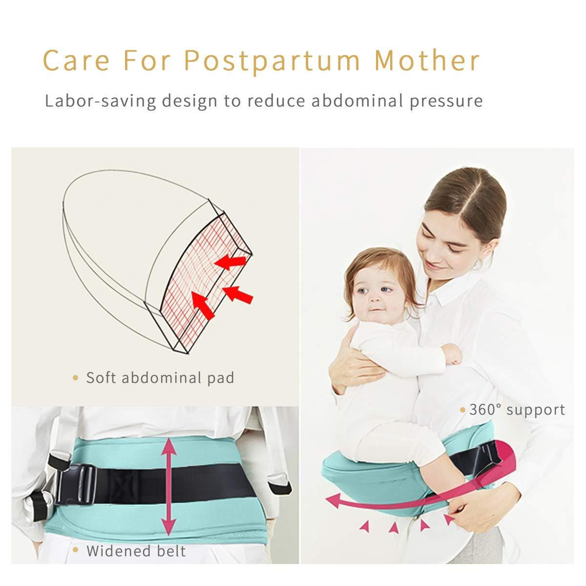 SONARIN Front Hipseat Baby Carrier Respirabile 100/% Cotone Portantina per beb/è Salva Sforzo,Taglia unica adatta a tutti Accogliente e lenitivo per i bambini,Ideale Regalo Blu