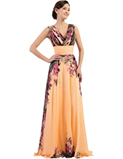 4c88aa770573 GRACE KARIN Floral Print Graceful Chiffon Prom Dress for Women  (Multi-Colored)