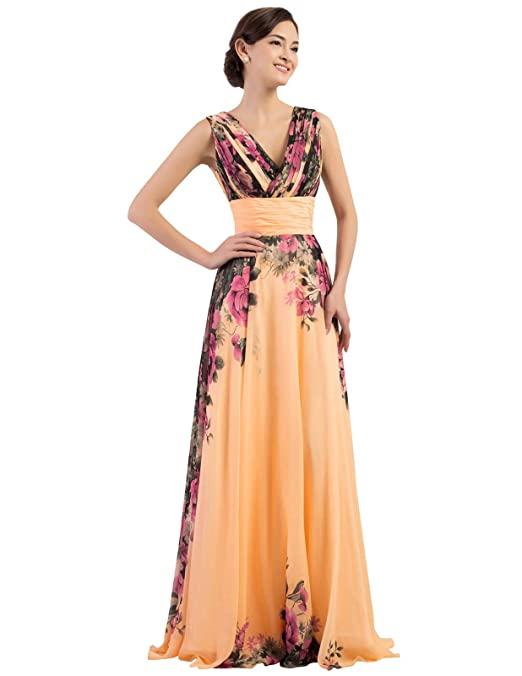 Prom Dress for Women Floral Print Graceful Chiffon Multi Colored
