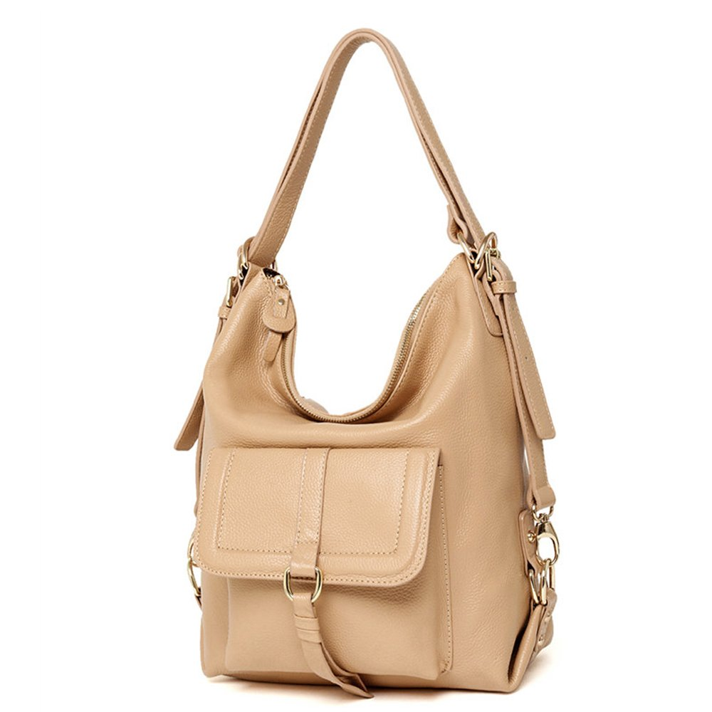 SEALINF Womens Top Handle Leather Shoulder Bag Convertible Backpack with Front Flap (beige)