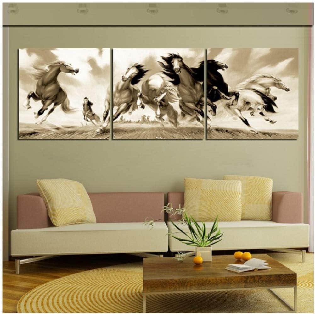 Pintura en lienzo HD 3 piezas pared arte lienzo pintura alto y guapo caballo 8 cuadros de pared para sala de estar decoración del hogar cuadros modulares pintura al óleo -50CM*50CM*3