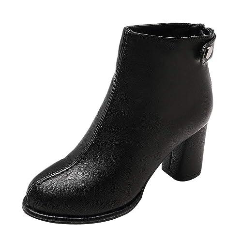 Rawdah Botas Mujer Invierno Botas Altas de Cuero del Dedo del pie del Color sólido de