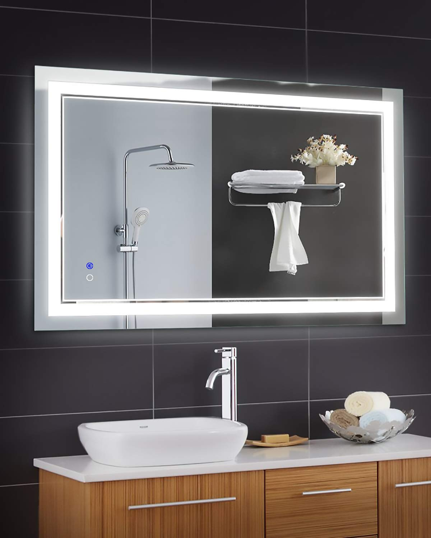 Keonjinn 40 x 24 Inch Anti-Fog Horizontal/Vertiacl LED Bathroom Vanity Mirror Large Wall Makeup Mirror with Light by Keonjinn