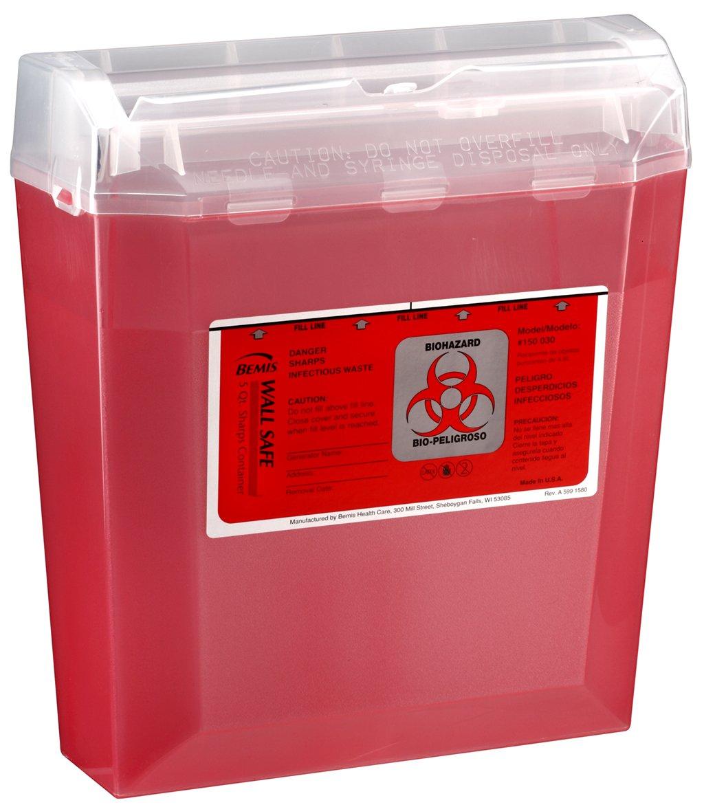 Bemis Healthcare 150 030 Translucent Red Wallsafe Sharps Container, 5 quart (Pack of 24) by Bemis Health Care (Image #1)