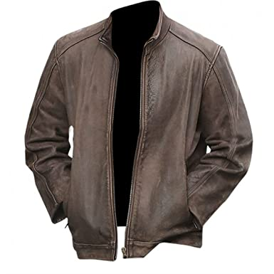 0fcb4f53d1d III-Fashions Matt Damon Jason Bourne Brown Leather Jacket at Amazon Men's  Clothing store: