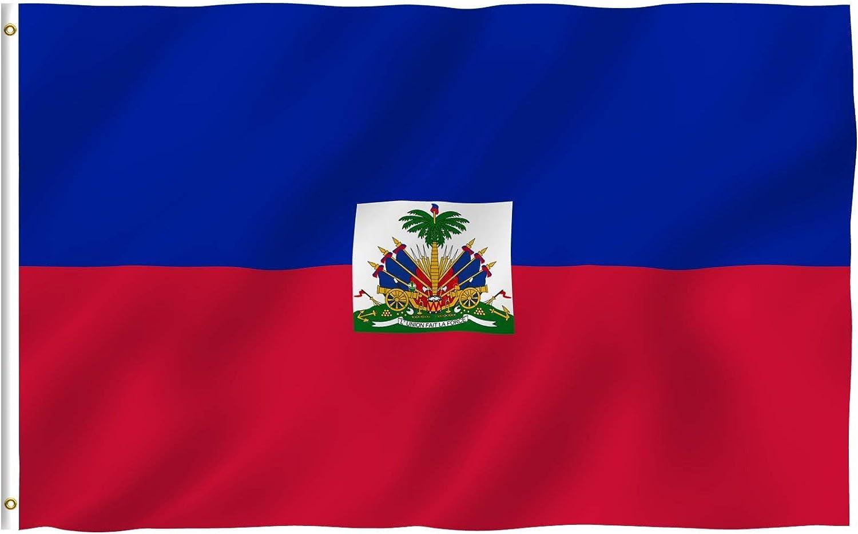 Anley Fly Breeze 90 x 150 cm Bandera Haití - Colores Vivos y Resistentes a Rayos UVA - Bordes Reforzados con Lona y Doble Costura - Nacinoal Haitiana Banderas Poliéster con Ojales