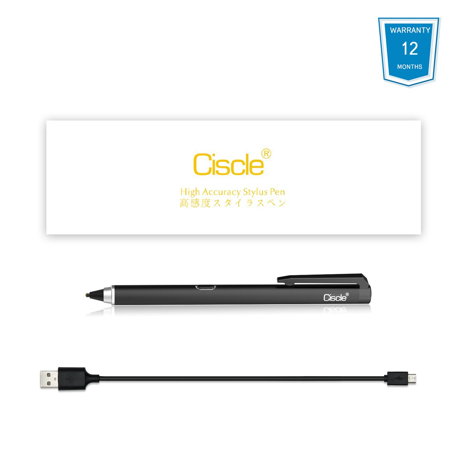 Active Stylus Pen, Ciscle Capacitive Digital Pen, 5 Mins Auto Power Off with High Precision Sensitivity 1.5mm Copper Tip, Fine Point Stylus for Touch Screen Devices, iPad/iPhone/Android Tablets-Black by Ciscle (Image #7)