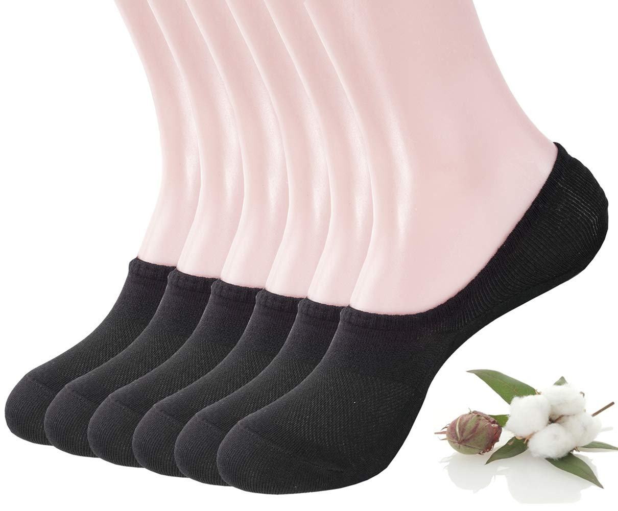 Women's Fashion No Show/Low cut Fun Socks 6 Pairs Packs Black