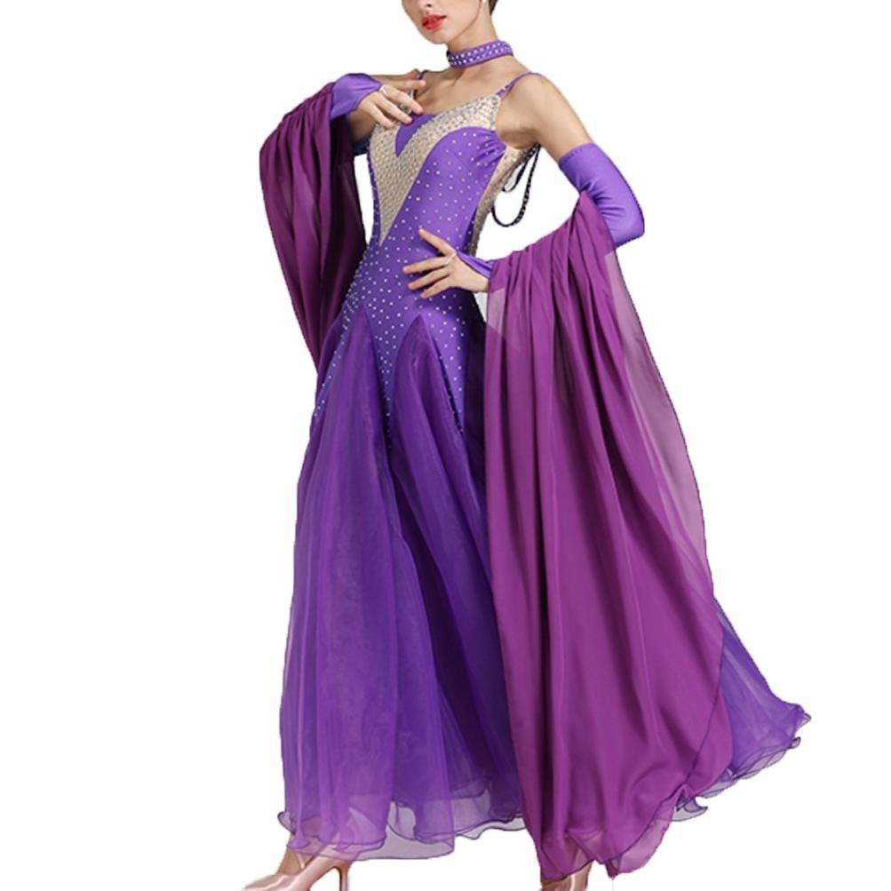 MoLiYanZi Moderne Tanzkleider für Frauen Schultergurte Schlank Wettbewerb Tanz-Outfit Strass Große Schaukel B07BHNQL6B Bekleidung Moderne und elegante Mode