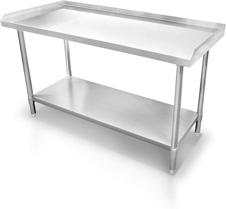 Edelstahl Arbeitstisch Gastro Tisch Edelstahltisch K/üchentisch Anrichte 100x60x86cm mit Aufkantung