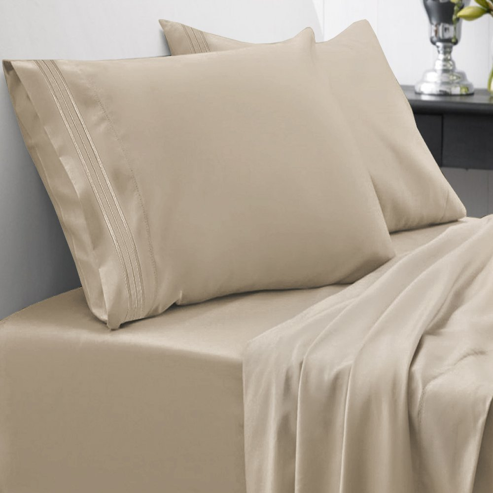 Sweet Home Collection 1800 Thread Count Bed Sheet Set Egyptian Quality Brushed Microfiber 4 Piece Deep Pocket, RV Short Queen, Taupe