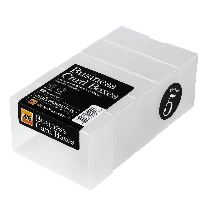 5x Scatole per biglietti da visita/abbellimento scatole ciascuna contiene 125 carte. 95x60x35 (misure interne) S.B. Weston Ltd. 5xbcbeur