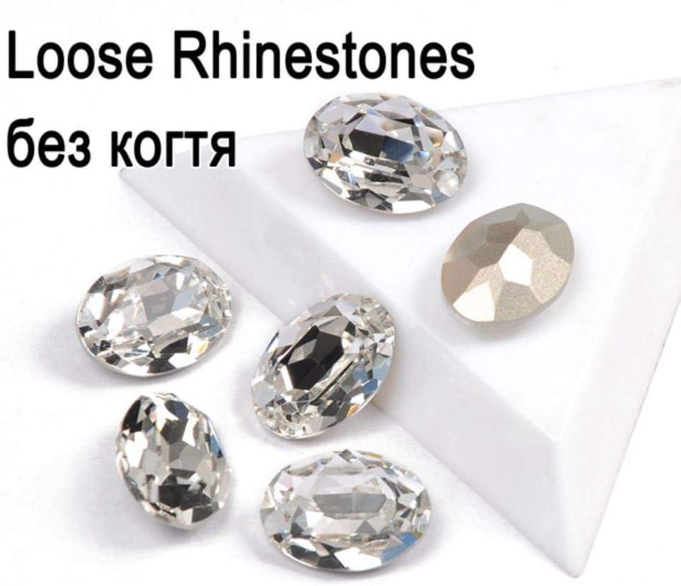 Material de cristal transparente Cristal de diamantes de imitación Piedras preciosas Forma ovalada Cristales Piedras Strass de diamantes DIY Artesanías de prendas de vestir, sin ajuste, 18x25mm-3pcs
