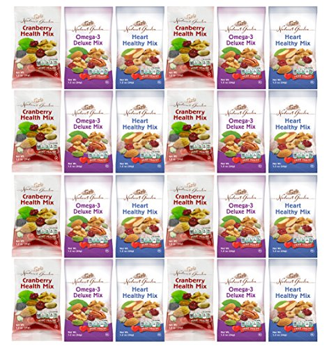 Healthy Premium Assorted Nuts and Fruits Snack Mix Sampler Variety Pack, Good for the Heart (24 Count) by Custom Varietea