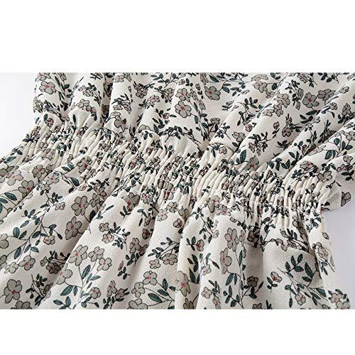 Fillette Moitié Angelof Fete Femme Frill De Col Soirée Cintrée Floral Chic Vetement Robe Manches Blanc Imprimer Pour V Mode Longue OqXprO