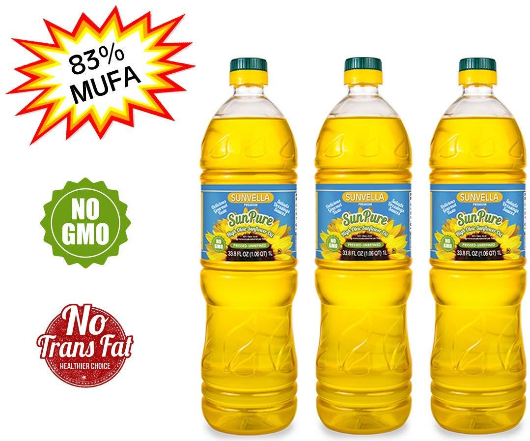 SUNVELLA SunPure Non-GMO High Oleic Sunflower Oil, Pressed-Unrefined (Pack of 3 x 33.8 FL OZ) by SUNVELLA