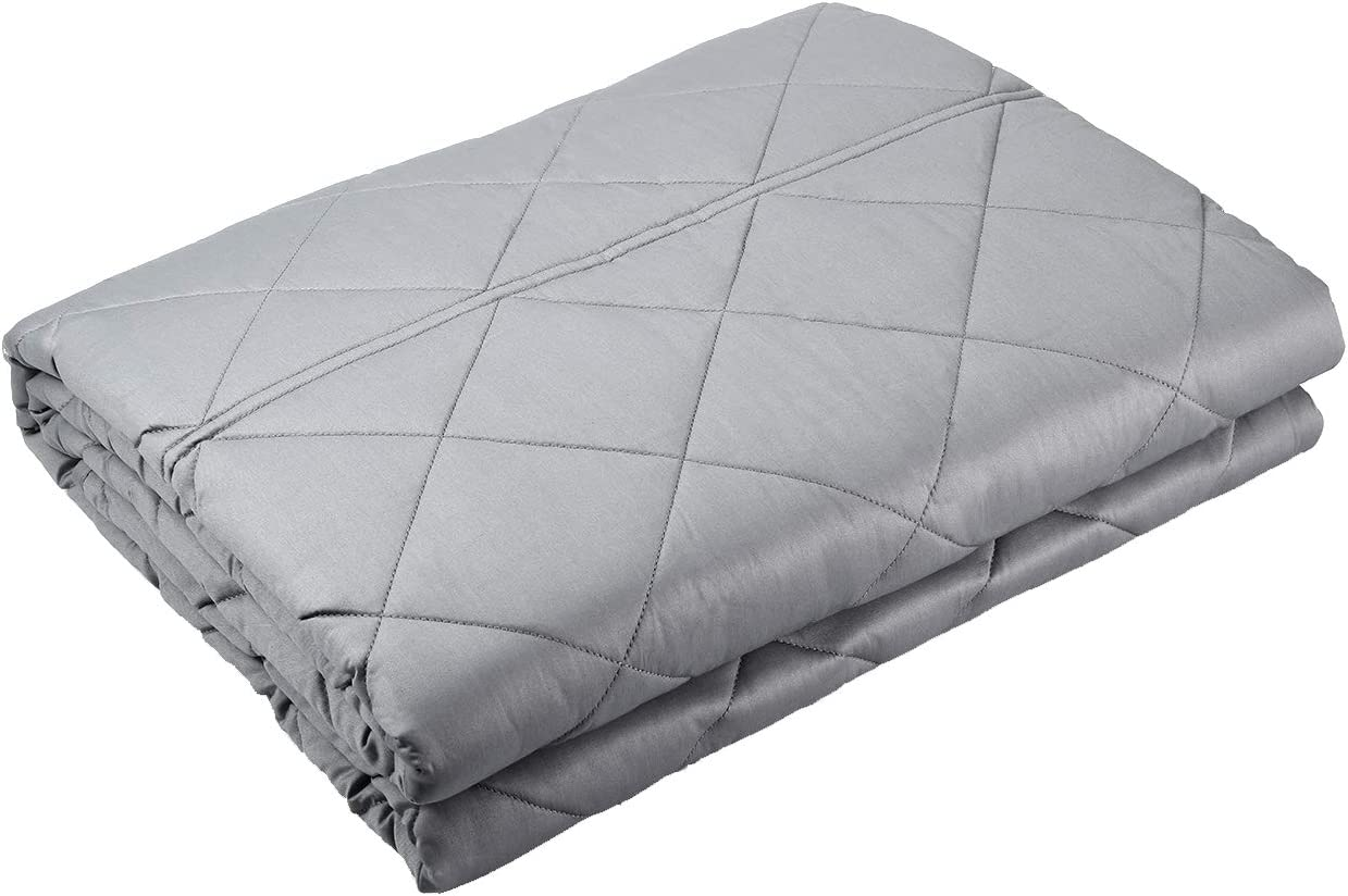 """WarmHug Weighted Blanket for Kids Adult 15 lbs (48""""x 72"""", Twin Size, 8 Loops), 100% Organic Cotton and Premium Glass Beads, Light Grey"""