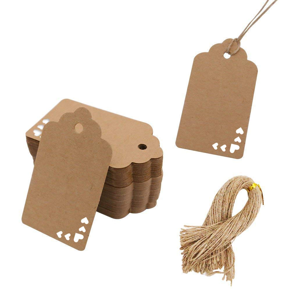 Koogel Kraft Paper Tags,100pcs Heart Kraft Paper Gift Tags Craft Hang Tags with Free 100 Root Natural Jute Twine for Gifts Arts and Crafts Wedding Holiday