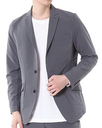 5809d34f7353c Amazon   [エムシー] 撥水加工 ストレッチ テーラード ジャケット メンズ シングル 2つボタン 2-グレー LLサイズ   コート・ ジャケット 通販