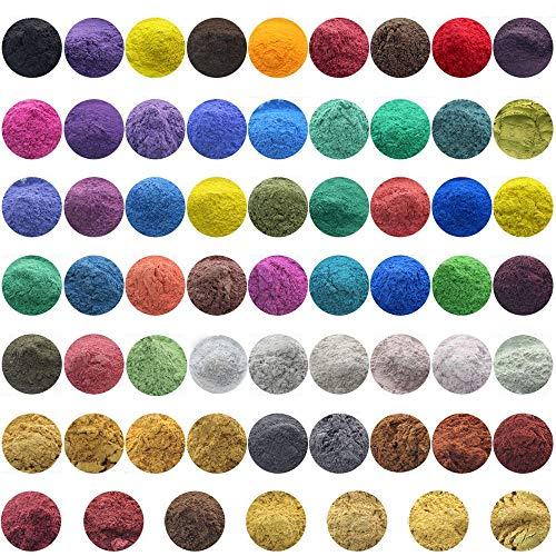 10g, 50g Cosmetic Grade Natural Mica Powder Pigment Soap Candle DIY Colorant Dye (All of 61 Colors, 50g)