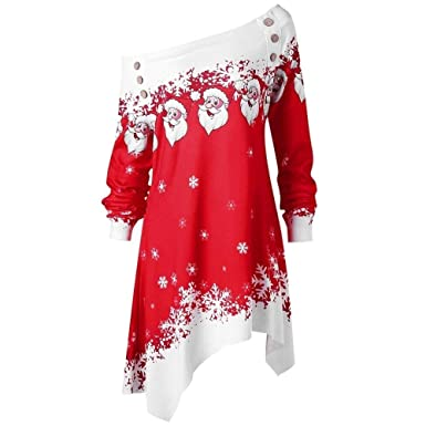 9e83576d3bf Women Christmas Tops Vovotrade Ladies Santa Claus Snowflake Print  Sweatshirt Long Sleeve Pullover Elegant Off Shoulder Button Blouse Women  Xmas Clothes  ...