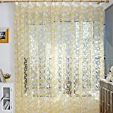Elaco Home Textile Leaf Sheer Window Curtains, 200x100-Centimeter, Yellow