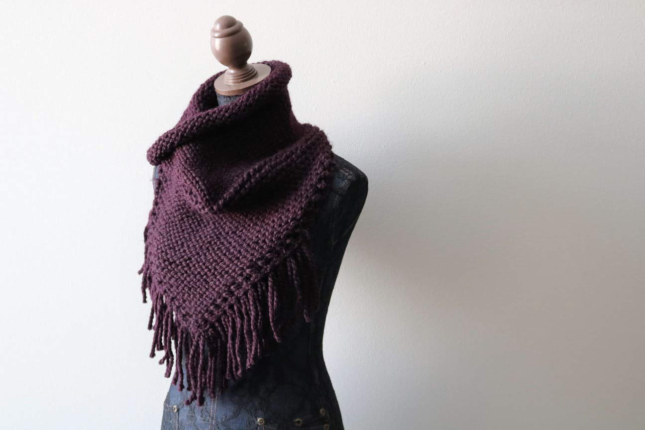 Charcoal Knitted Infinity Scarf With Fringe Red Purple Brown Green Grey