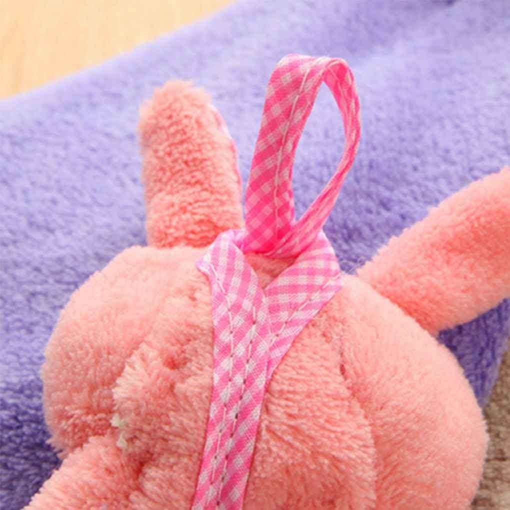 Coral infantil del beb/é de terciopelo toalla de mano animal de la historieta del conejo de cocina colgados ba/ño Wipe toalla Estropajos ni/ños Pa/ñuelo Regard
