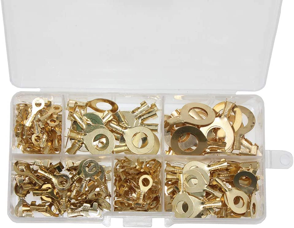Non-Insulated Ring Lugs Crimp Cable Connector KeeYees 240 Pcs Open Barrel Wire Crimp Copper Terminal Connerctor Kit