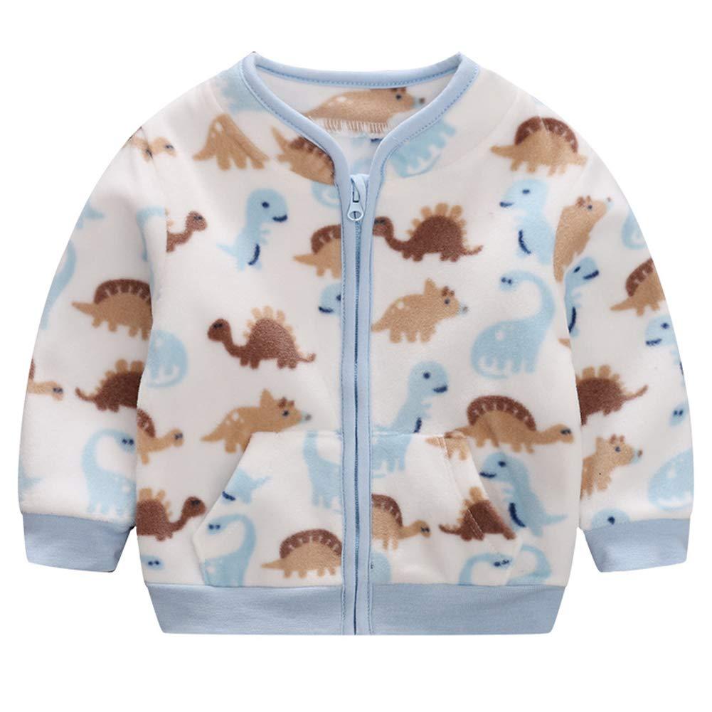 AIKSSOO Toddler Baby Girls Boys Floral Outfit Cute Fleece Jacket Zip Outwear Warm