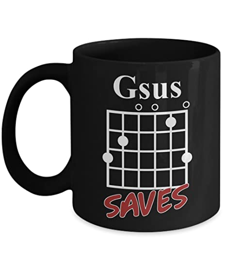 Amazon.com: Gsus Saves Chord T-Shirt, Funny Guitar Lover Gift Coffee ...