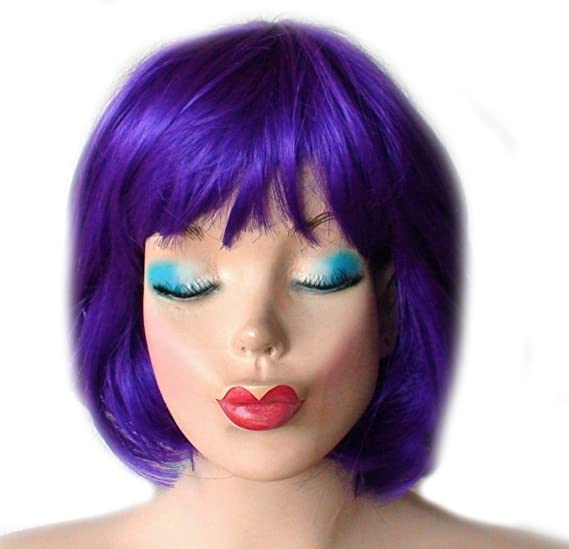 Amazon.com  City Costume Wigs Purple Bob Wig With Bangs Womens ... 9e4921dd2b