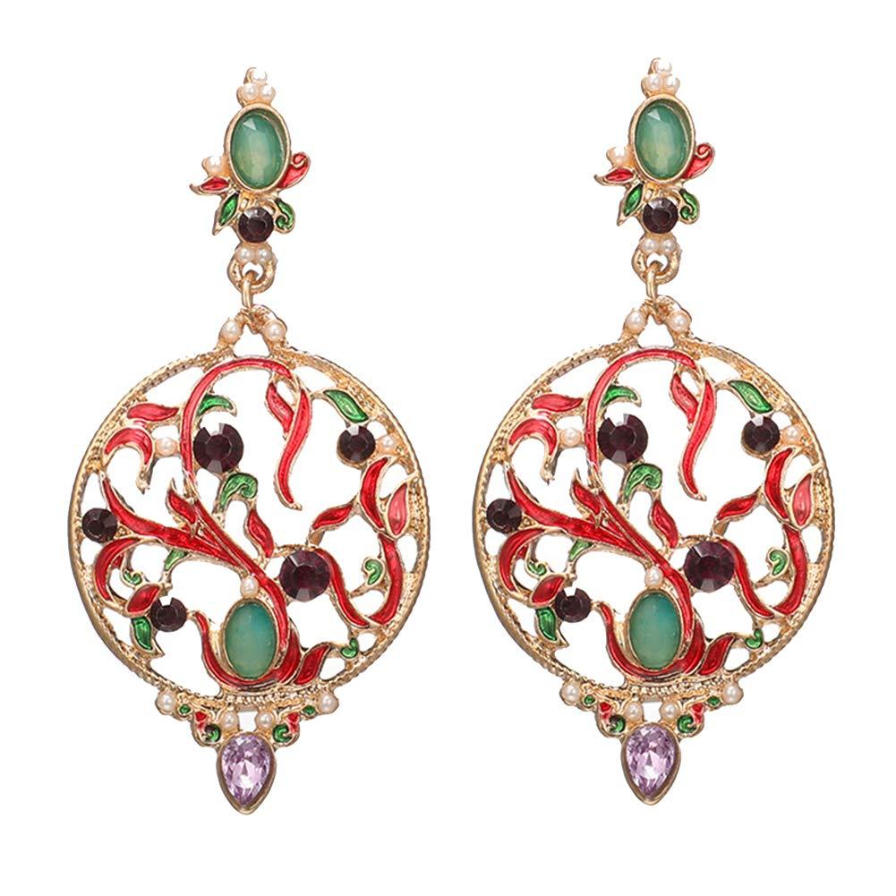 lightclub Fashion Red Women Hollow Round Faux Emerald Pearl Inlaid Pendant Drop Dangle Dangling Big Large Long Earrings Jewelry Golden