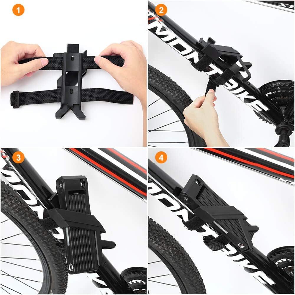 toptrek Faltschloss mit Halterung Rotieren Fahrradschloss Schlüssel Lang 100cm
