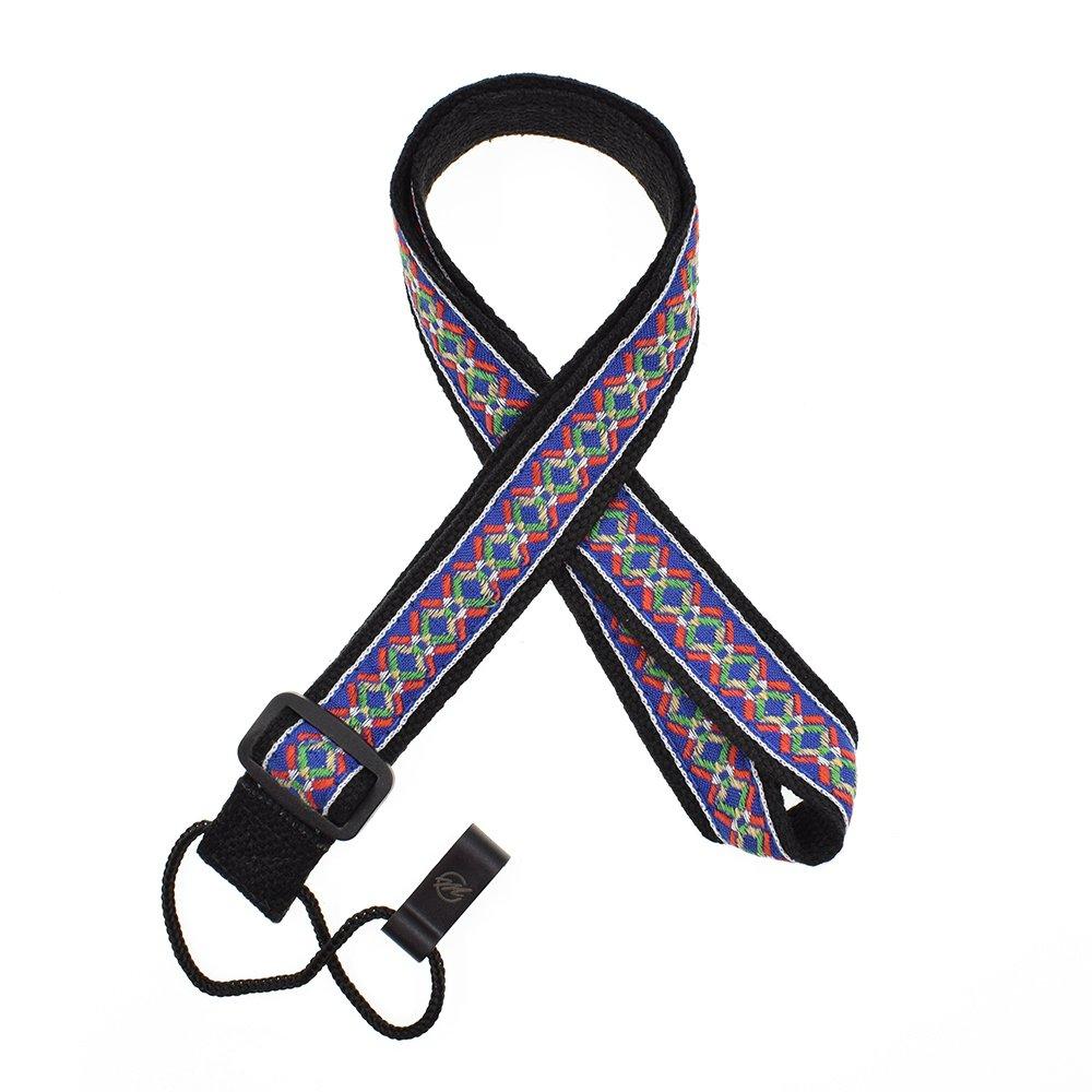 CLOUDMUSIC Colorful Hawaiian Jacquard Woven J Hook Clip On Ukulele Strap Ukulele Belt For Soprano Concert Tenor Ukulele Blue Flower In Black