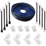 RUNCCI (5M) Cable de extensión de tira LED RGB de 4 clavijas, kits de conectores de tira LED con puentes de 4 tiras, conectores en forma de L para luz de tira LED flexible 5050 RGB