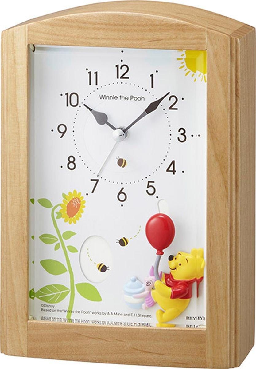 Disney ( ディズニー ) 目覚まし時計 キャラクター アナログ くまのプーさん 【 オルゴール と共に プーさん が動きます 】 Winny the pooh の 曲 入り 木 茶 リズム時計 4RM761MC06 B018HHOQZW