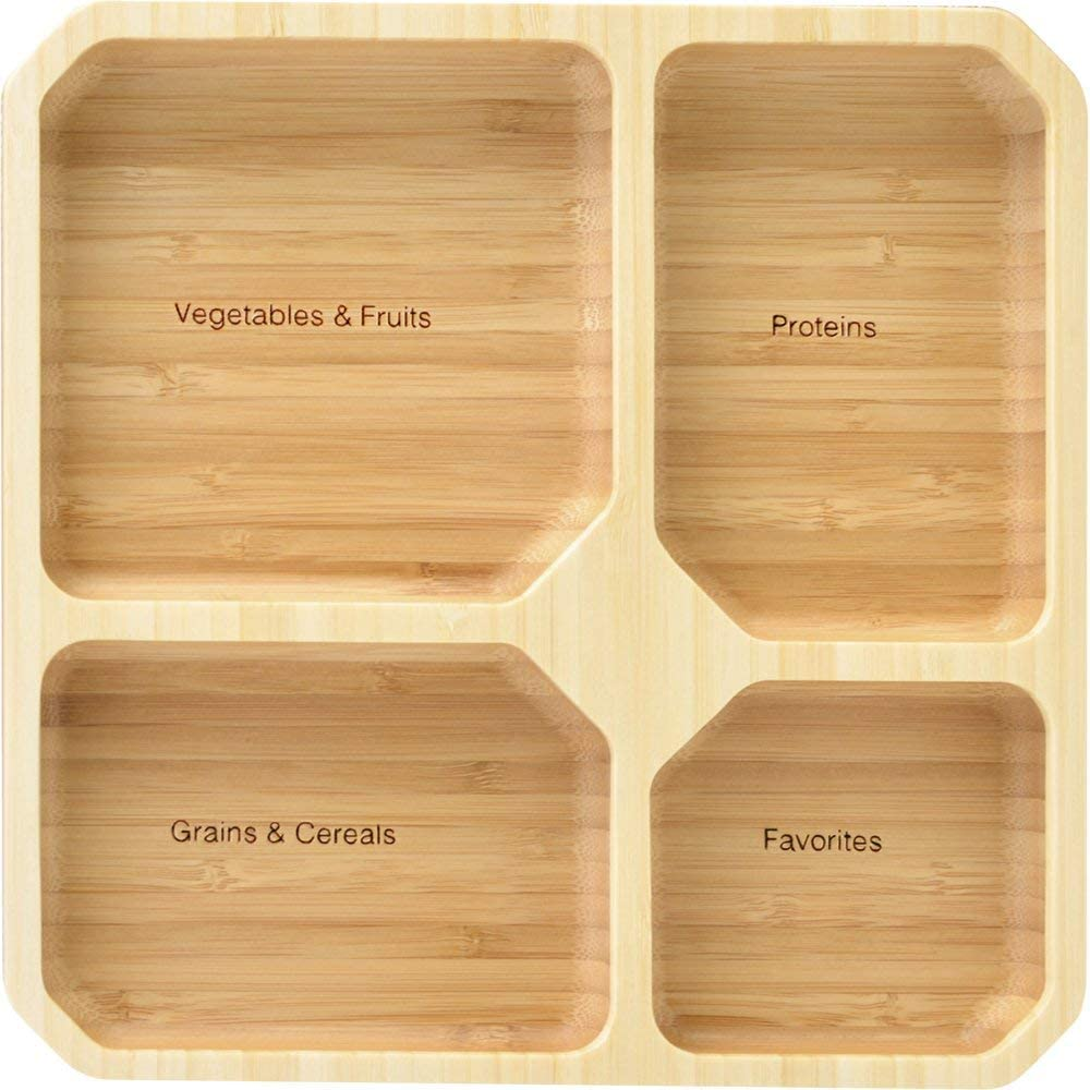 La Boos Square Portion Control Plates (4-Section) - MyPlate Healthy Diet Ratio Control or Weight Loss Aid plate - Made with Bamboo - BPA-Free Lunch Plate or Healthy Eating Plate