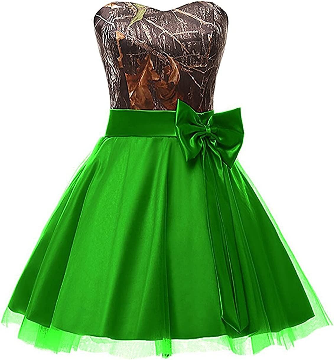 DINGZAN Graduation Homecoming Dresses Camo Bridesmaid Gowns Short