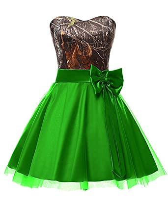 6c9002ccf35bd DINGZAN Graduation Homecoming Dresses Camo Bridesmaid Gowns Short 2 Apple  Green