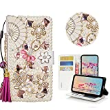 STENES Bling Case Compatible with Galaxy S10 Plus - Stylish - 3D Handmade Fan Tassel Pendant Ballet Girls Magnetic Wallet Leather Cover Compatible with Samsung Galaxy S10 Plus 6.4 Inch - Hot Pink