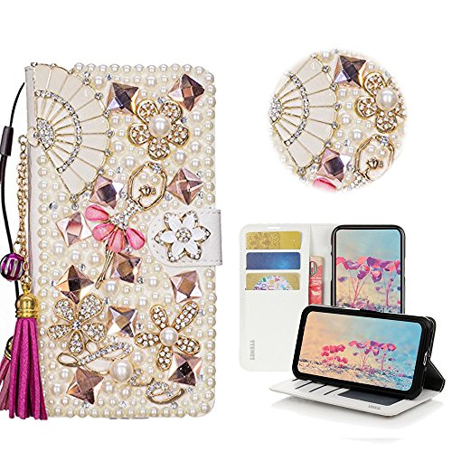 STENES ZTE Blade Spark Case - Stylish - 3D Handmade Crystal Fan Tassel Pendant Ballet Girls Magnetic Wallet Credit Card Slots Fold Stand Leather Cover ZTE Blade Spark/ZTE Grand X4 - Hot Pink by STENES