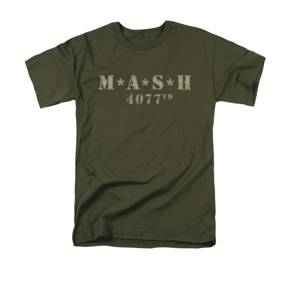 2Bhip MASH 1970's War Comedy TV Series Distressed Army Green Logo Adult T-Shirt Trevco