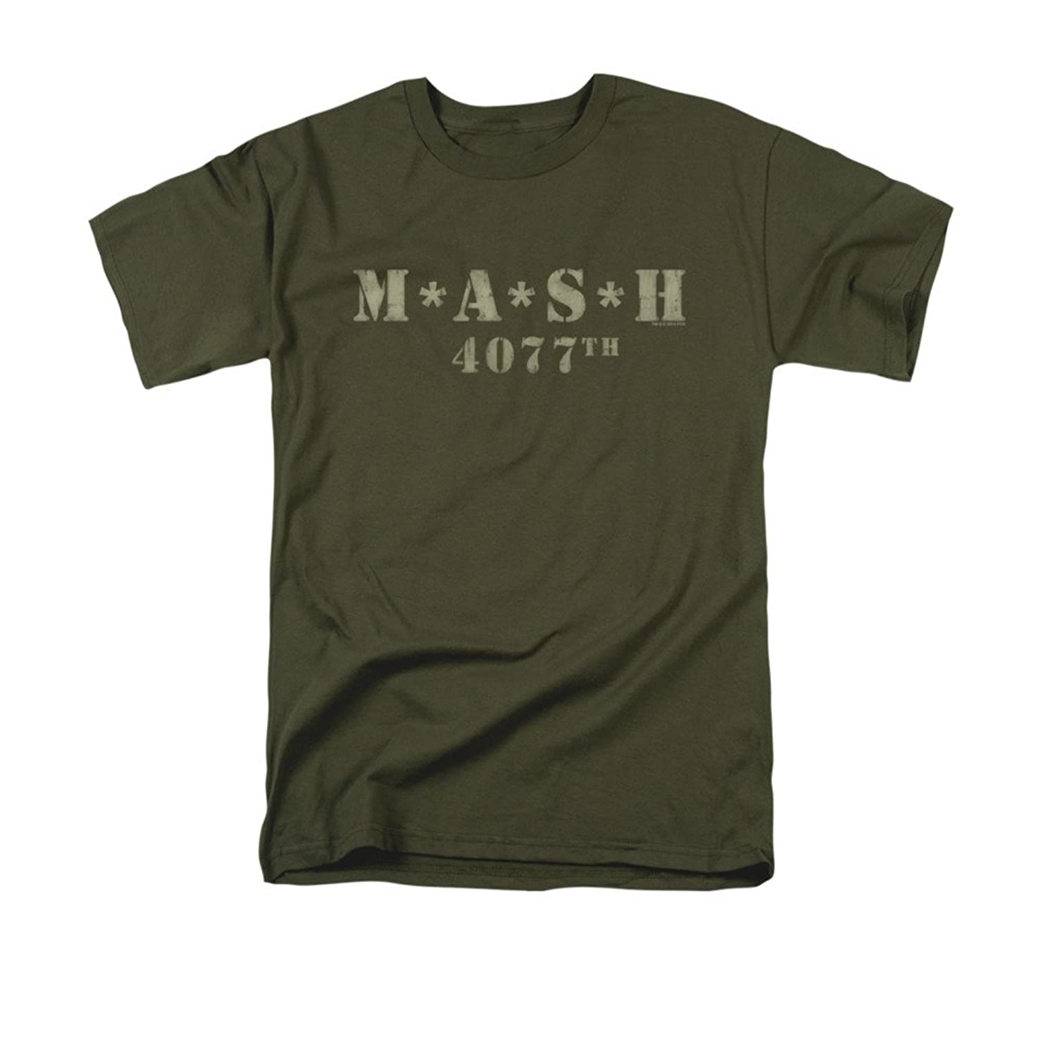 MASH 1970's War Comedy TV Series Distressed Army Green Logo Adult T-Shirt