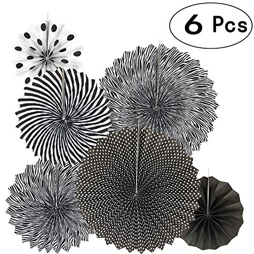 Diagtree Party Hanging Paper Fans Set, Round Pattern Paper Garlands Decoration for Birthday Wedding Graduation Events Accessories (Black) -
