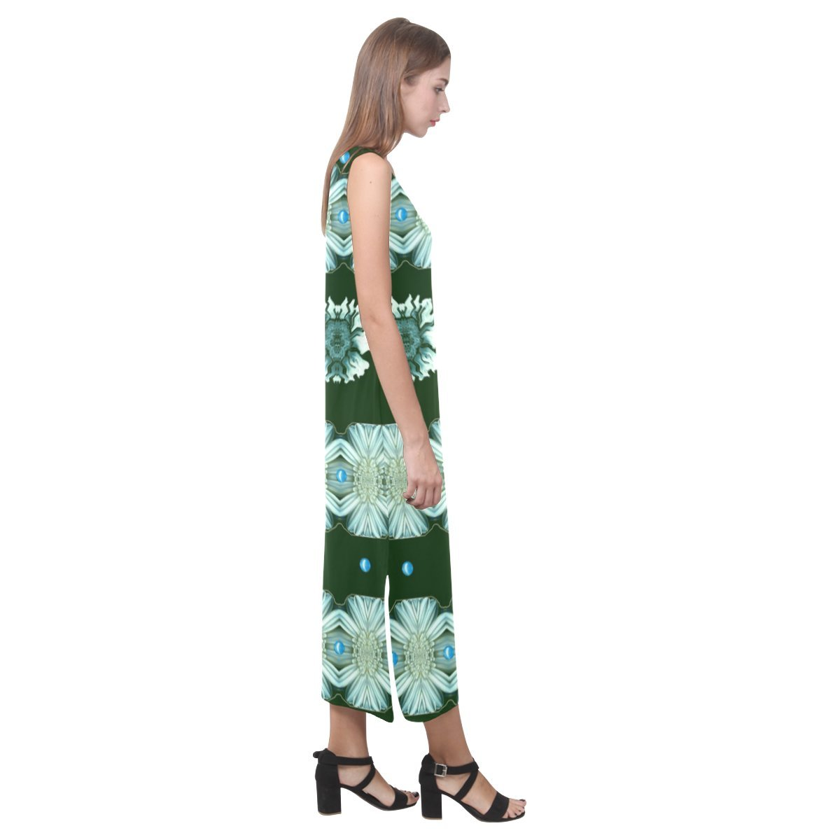 JC-Dress Sleeveless Dress Floral And Flowers In Harmony Party Beach Open Fork Long Dress