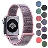 Pantheon Woven Nylon Replacement Apple Watch Band by, Sport Loop Edition, For Men or Women, Strap fits the 38mm or 42mm Apple iWatch, Compatible Series 1, 2, 3, Nike … (Light Pink, 38mm)